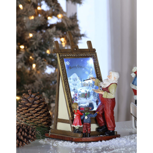 """Set of 2 Brown and Red Contemporary Santa Easel LED Lighted Tabletop Decor 10.5"""" - IMAGE 1"""