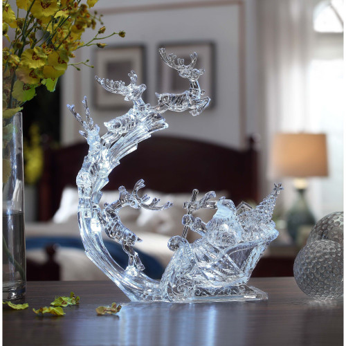 "Set of 2 Clear Reindeer Flight and Sleigh Decorative Christmas Ornament 13"" - IMAGE 1"