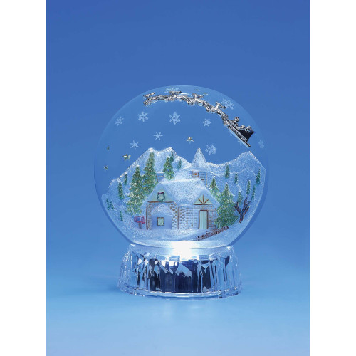 "Set of 2 White and Clear Christmas Mountain Half Globe Decorative Christmas Ornament 6.4"" - IMAGE 1"