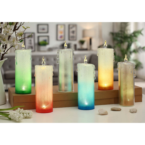 """Club Pack of 12 Clear Bi-Color LED Lighted Tall Candles 9.5"""" - IMAGE 1"""