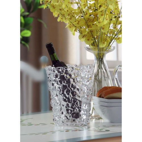 """9.25"""" Clear Ice Cube Bucket Crystalline Cuts Tabletop Decor - IMAGE 1"""