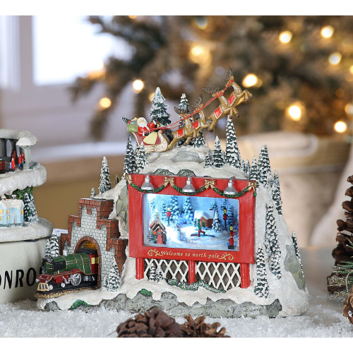 """Set of 2 Red and White North Pole Billboard Decorative Christmas Ornament 9.5"""" - IMAGE 1"""