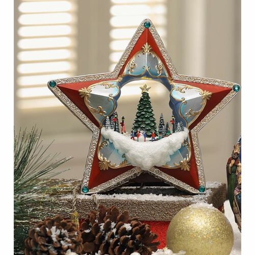 Red and Gold Full Color Winter Star Led Light Decorative Christmas Ornament - IMAGE 1
