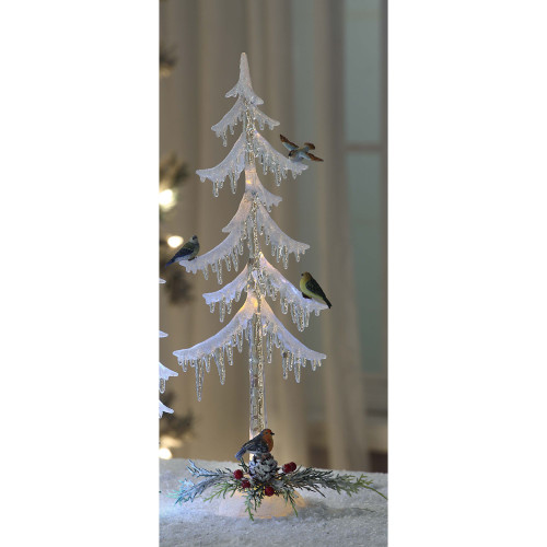 "Set of 2 Clear Bird Icicle Tree Christmas LED Lighted Tabletop Decor 18"" - IMAGE 1"