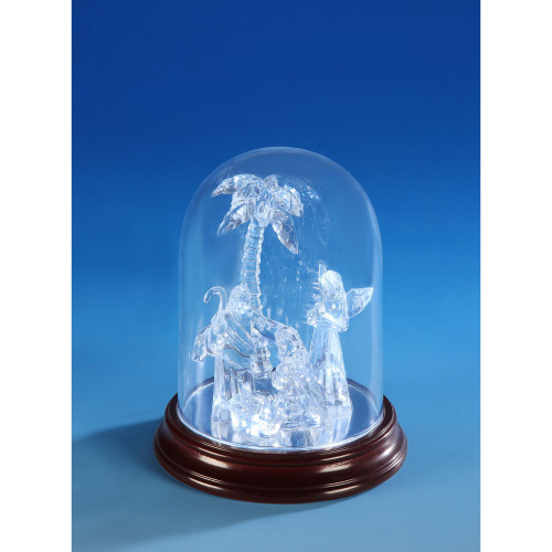 "Set of 2 Clear and Brown Sm. Nativity Dome Christmas LED Lighted Nativity Set Decor 6"" - IMAGE 1"