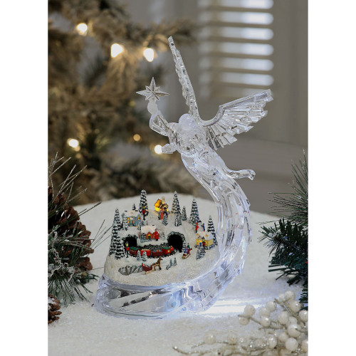 "Set of 2 Clear and Red Angel Village Christmas LED Lighted Tabletop Decor 12"" - IMAGE 1"