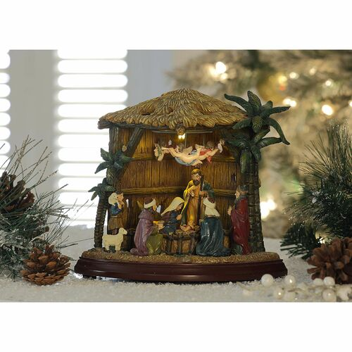 """Set of 2 Brown and Beige Birth of Christ Christmas LED Lighted Nativity Set Decor 8.75"""" - IMAGE 1"""
