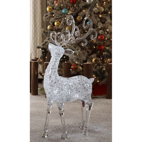 "35"" Clear Large Textured Deer Decorative Christmas Ornament - IMAGE 1"