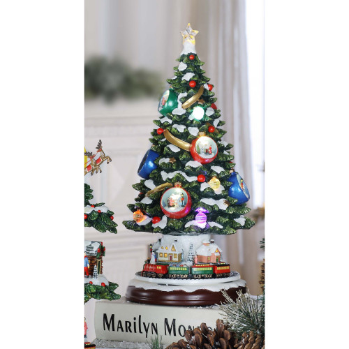 """15"""" Green and White Contemporary Christmas Spruce Tree LED Lighted Tabletop Decor - IMAGE 1"""