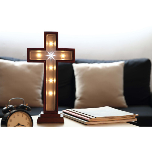 """Set of 2 Brown and Cream White Star Cross LED Lighted Tabletop Decor 17.25"""" - IMAGE 1"""