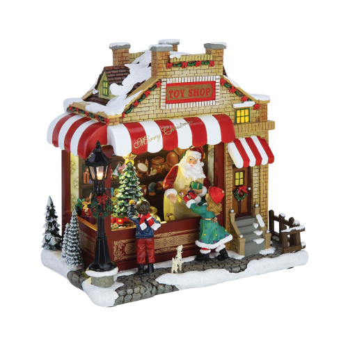 """9.4"""" Red and White Brick Toy Shop Decorative Christmas Ornament - IMAGE 1"""