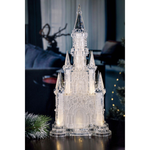"21"" Clear and Gold Glitter Large Castle LED Lighted Table Decor - IMAGE 1"