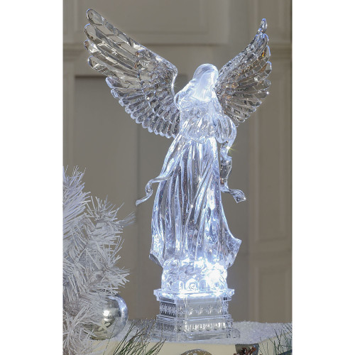"20"" Clear Winged Angel Christmas LED Lighted Tabletop Decor - IMAGE 1"
