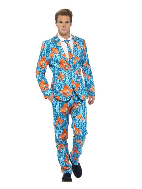 "38.5"" Blue and Orange Goldfish Suit Men Adult Halloween Costume - Medium - IMAGE 1"