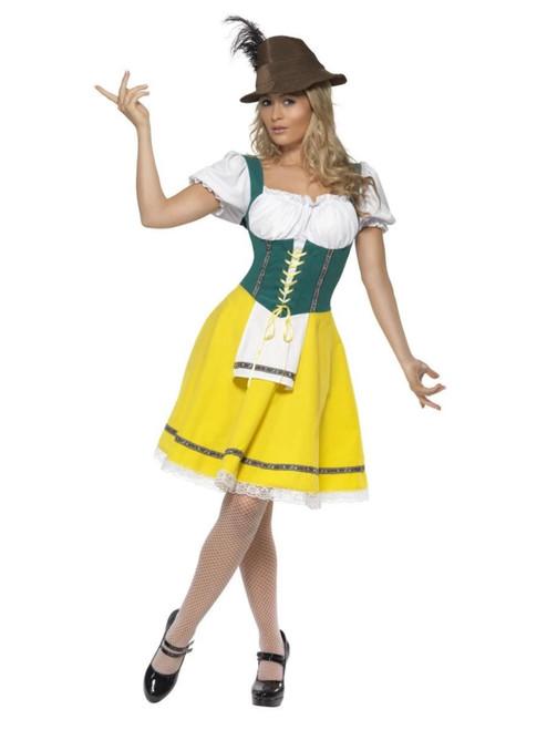 "40"" Yellow and Green Oktoberfest Women Adult Halloween Costume - Small - IMAGE 1"