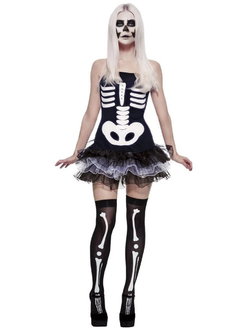 "49"" Black and White Fever Skeleton Women Adult Halloween Costume - XS - IMAGE 1"