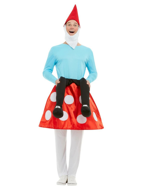 """40"""" Blue and Red Gnome Toadstool Large Men Adult Halloween Costume - XL - IMAGE 1"""