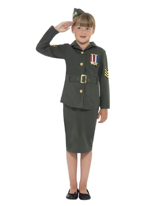 "49"" Khaki Green and Gold Army Girl Child Halloween Costume - Medium - IMAGE 1"