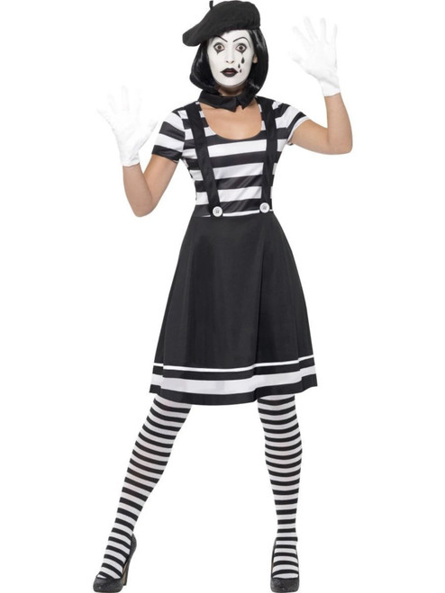 """49"""" Black and White Lady Mime Artist Party Women Adult Halloween Costume - Medium - IMAGE 1"""