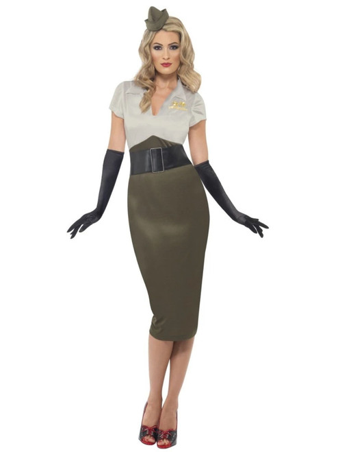 "49"" Green and Gray 1940 Style WW2 Army Women Adult Halloween Costume - Medium - IMAGE 1"