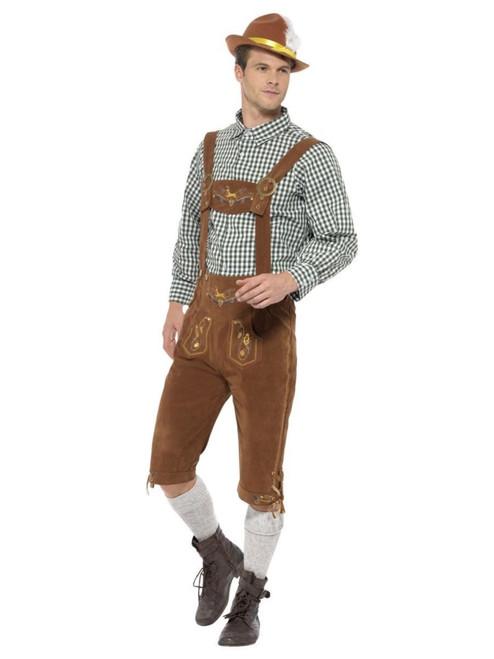 "41"" Brown and Green Traditional Hanz Bavarian Men Adult Halloween Costume - Medium - IMAGE 1"