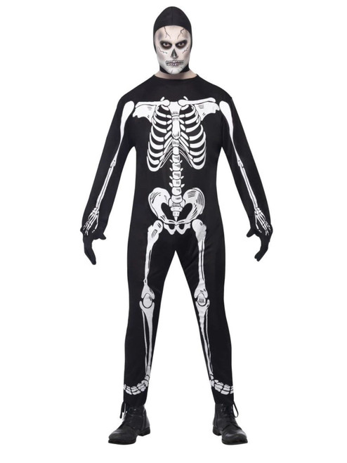 "49"" White and Black Skeleton Men Adult Halloween Costume - Medium - IMAGE 1"