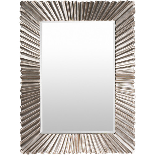 "49"" Silver Framed Hand Painted Rectangular Mirror Accent - IMAGE 1"