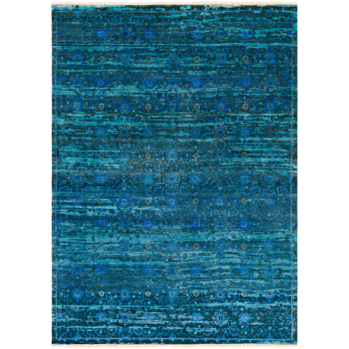 2.5' x 10' Contemporary Style Blue and Gray Rectangular Area Throw Rug Runner - IMAGE 1