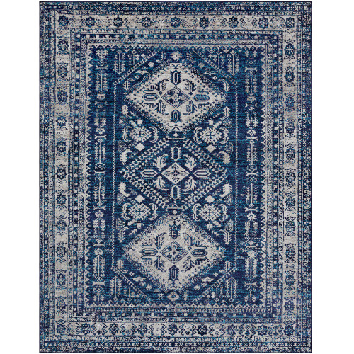 "7'10"" x 10'3"" Distressed Diamond Persian Design Navy Blue and Gray Rectangular Machine Woven Area Rug - IMAGE 1"