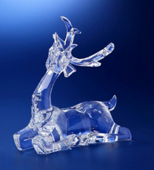 """Set of 2 Icy Clear Decorative Sitting Deer Christmas Figurines 10"""" - IMAGE 1"""