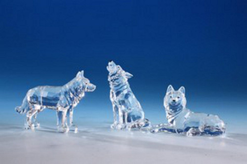 """Club Pack of 12 Icy Clear Decorative Wolves Table Top Figurines 4"""" - IMAGE 1"""
