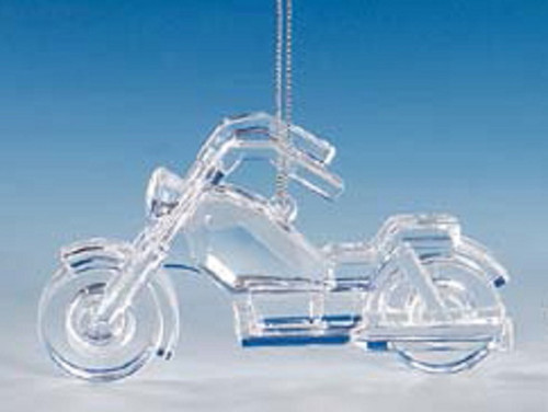 """Club Pack of 12 Clear Icy Crystal Decorative Motorcycle Ornaments 2.5"""" - IMAGE 1"""