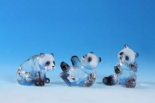 """Club Pack of 12 Clear Icy Crystal Decorative Panda Bear Figurines 3.5"""" - IMAGE 1"""