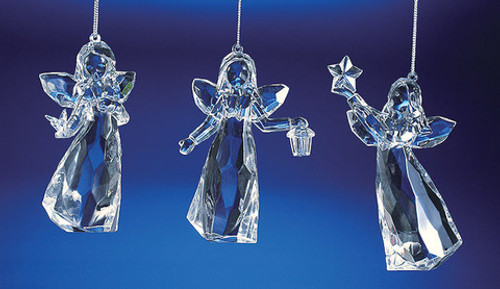 "Club Pack of 18 Clear Icy Crystal Religious Christmas Angel Girl Ornaments 4.5"" - IMAGE 1"