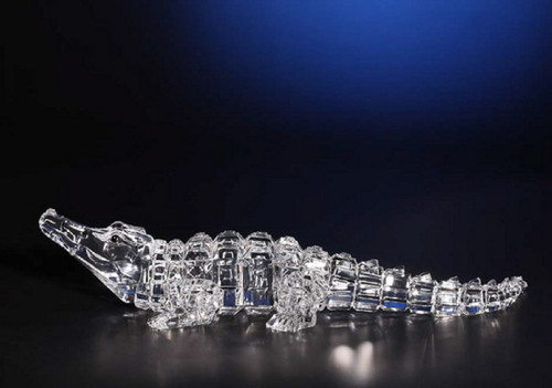 """Set of 2 Clear Decorative Icy Crocodile Table Top Figures 13"""" - IMAGE 1"""