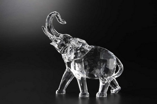 """Pack of 4 Clear Icy Crystal Decorative Elephant Figurines 7"""" - IMAGE 1"""