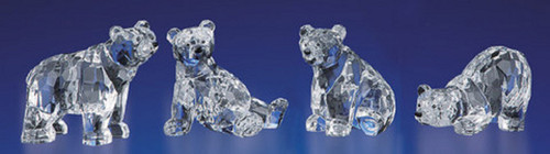 "Pack of 8 Clear Icy Crystal Decorative Bears Figurines 4.1"" - IMAGE 1"