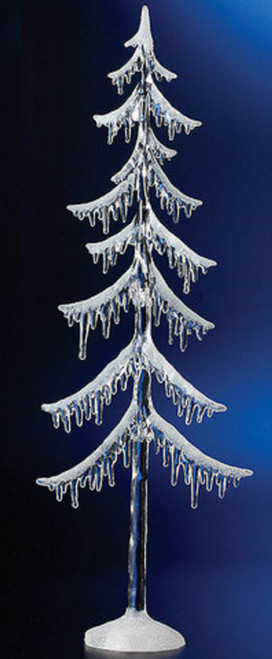 "Set of 2 Clear Illuminated Christmas Icicle Tree Figurines 31"" - IMAGE 1"