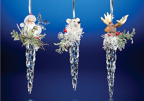 """Club Pack of 12 Clear Icy Crystal Christmas Character Head on Icicle Ornaments 7"""" - IMAGE 1"""