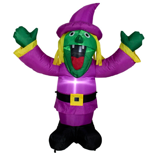 3.5' Purple Inflatable Lighted Witch Halloween Outdoor Decoration - IMAGE 1