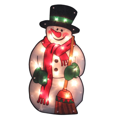 """17.5"""" Lighted Snowman with Broom Christmas Window Silhouette - IMAGE 1"""
