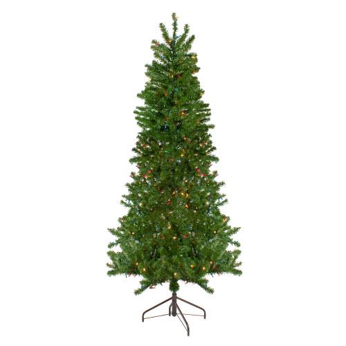 7.5' Pre-Lit Canadian Pine Slim Artificial Christmas Wall Tree - Multicolor Lights - IMAGE 1