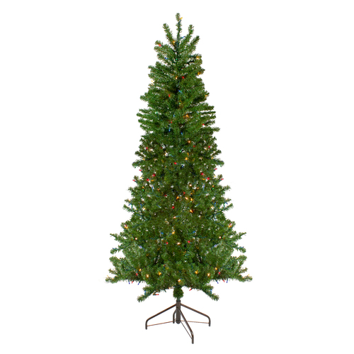 6.5' Pre-Lit Canadian Pine Slim Artificial Christmas Wall Tree - Multicolor Lights - IMAGE 1