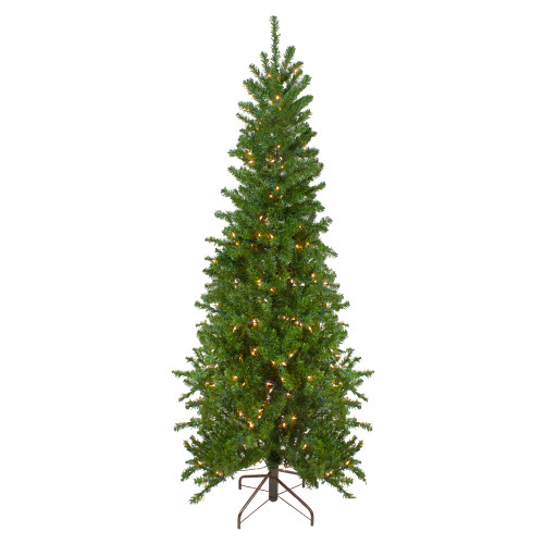 7.5' Pre-Lit Pencil Canadian Pine Artificial Christmas Tree - Clear Lights - IMAGE 1