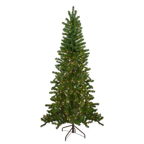 6.5' Pre-Lit Canadian Pine Slim Artificial Christmas Wall Tree - Clear Lights - IMAGE 1