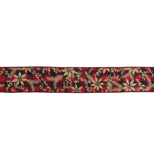 "Red and Black Buffalo Plaid Christmas Wired Craft Ribbon 2.5"" x 16 Yards - IMAGE 1"