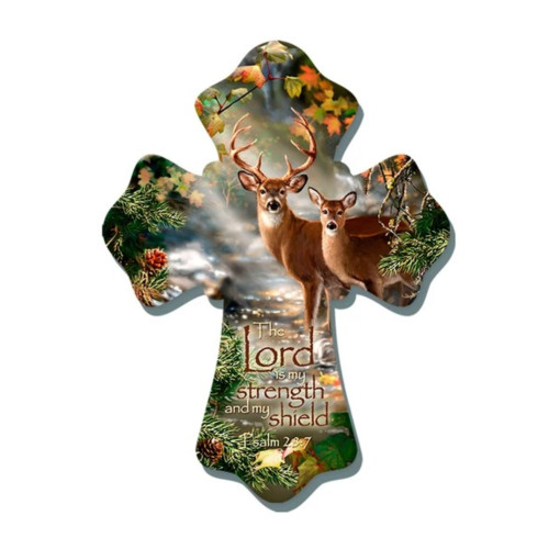 """8"""" Brown and Green Biblical Quoted Deer Wall Cross - IMAGE 1"""