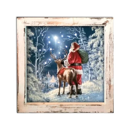 """8"""" White and Blue Lighted Starry Night Santa Christmas Square Shadow Box Decoration - IMAGE 1"""