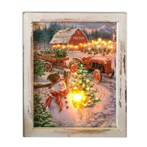 """10"""" White and Brown LED Lighted Christmas Tree Farm Rectangular Shadow Box Decoration - IMAGE 1"""