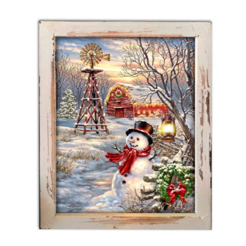"""10"""" White and Red LED Lighted Winter Windmill Christmas Rectangular Shadow Box Decoration - IMAGE 1"""
